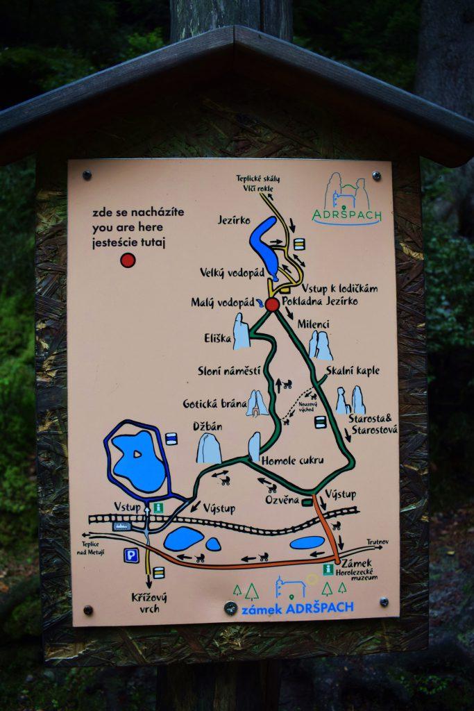 Skalne Miasto w Adsprach-mapa przewodnia po miasteczku skalnym