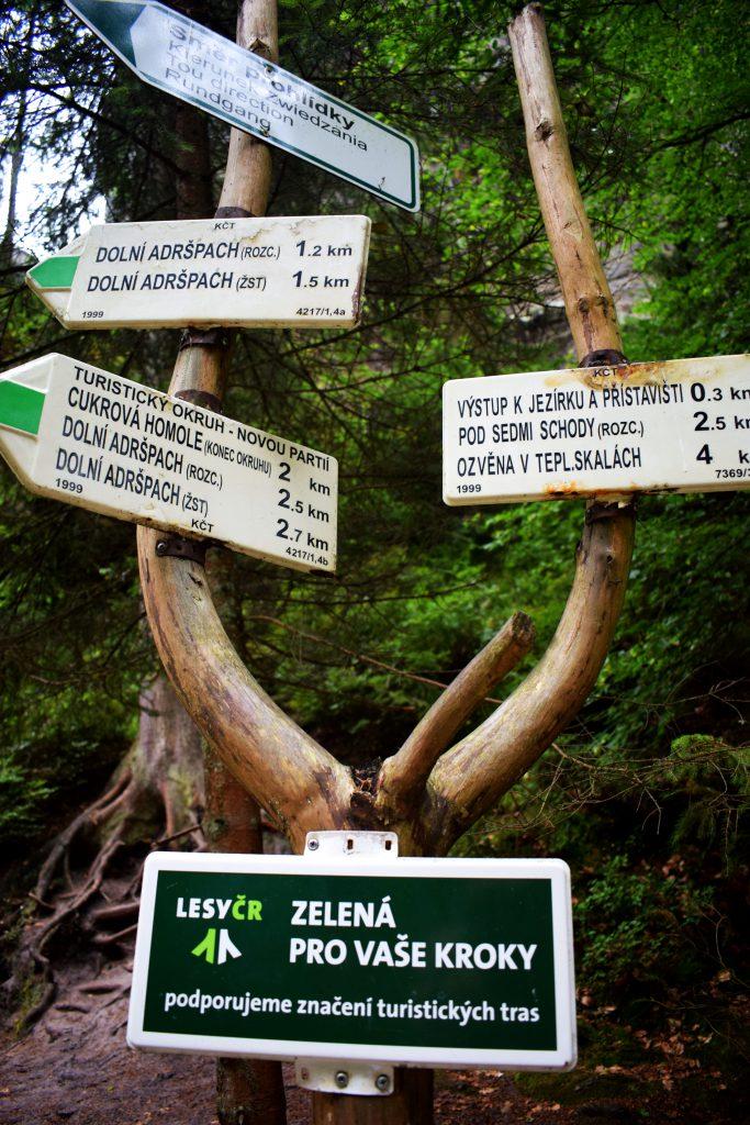 Skalne Miasto w Adsprach-znaki z kierunkami szlaków